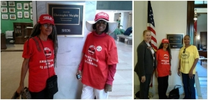 Anise Jenkins and Evanna Powell after meeting with a Sen. Christopher Murphy (D-Conn.) staffer.  Karen Szulgit and Nia 2x, president of the Greater DC Chapter of the National Action Network, flank Anise Jenkins outside the office of Sen. Richard Shelby (R-Ala.).