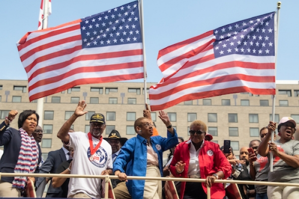 Supporters of D.C. statehood demonstrate for their cause.