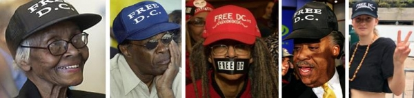 "Ms. Loree H. Murray, Mayor Marion Barry, Anise Jenkins, Al Sharpton and Rapper Meggalooch (Megan Dunn) all sport ""FREE DC"" hats!"